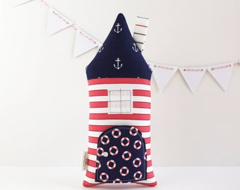 Tooth Fairy Pillow House, Kids, Nautical, 4th of July, Beach Cottage, Stuffed Toy, Anchor, Kids Stuffed Toy, Secret Pocket Pillow, Ocean