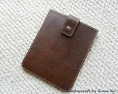 100% hand stitched handmade brown cowhide leather kindle tablet sleeve / holder / case
