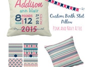 "Custom Throw Pillow - Baby Name and Birth Stats - Personalized Baby Girl Pink and Navy Tribal/Aztec Pillow- 16"" X 16"""