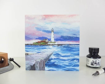 Greeting Card: St Mary's Lighthouse, Whitley Bay