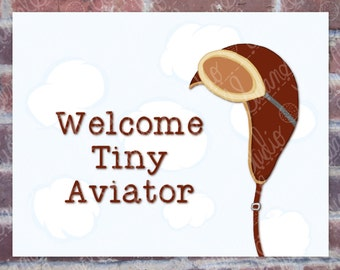 Aviator Hat Nursery Printable Art, New Baby, Welcome Tiny Aviator, Gender Neutral Nursery, Sky Pilot, Digital Wall Art, PNG, JPG, PDF