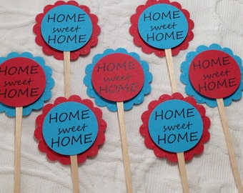 Home Sweet Home Cupcake Picks Toppers - Housewarming - Open House - New Home