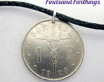 Coin Jewelry - caduceus COIN NECKLACE - Antique Belgium one franc - woman kneeling with sword - doctor - nurse - physician gift