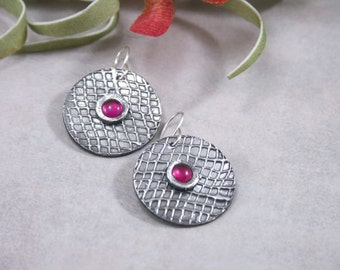 Artisan Handmade Fine Silver Textured Circle Earrings Ruby PMC Metal Clay