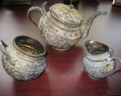 Vintage All Brass Teapot, Creamer And Sugar Bowl From Thailand