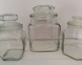 Apothecary Jars - Set Of 3 - Glass Canisters - Shabby Chic - Cottage Decor - Beach - Bathroom - Candy Buffet  - Kitchen -  Wedding