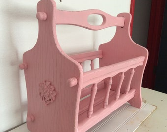 Shabby Chic Wood Magazine Rack - Painted Pink - Distressed - Roses - Cottage Decor - Office Studio Craft Room Decor- Victorian - Paris Chic