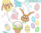 Easter Bunny Clipart, Easter Eggs Digital Clipart, Easter Basket Clipart