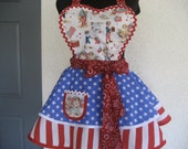 Three Cheers For The Red White and Blue Retro Apron