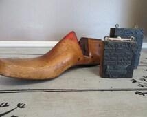 Antique Shoe Form Old Wooden Shoe Form Mannequin Foot Rustic Decor Industrial Decor Wooden Decor Metal Decor