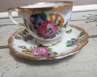 Tea Cup Pansy Tea Cup Pink Floral Teacup Bone China Teacup Porcelain Tea Cup Shabby Chic Tea Cup