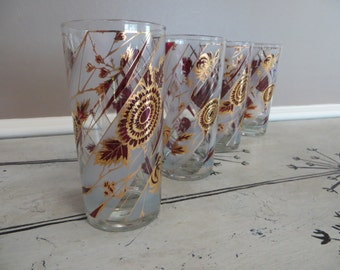 Set of 4 Vintage Culver Highball Glasses Floral Design Burgundy Purple w/ 22K Gold 1960s Mad Men Barware, Mid Century Hollywood Regency