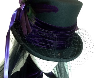 Gothic Steampunk purple and black wedding hat