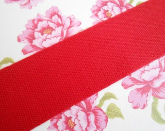 """Canvas Tape Red Cotton 1 1/4""""width 5yds"""