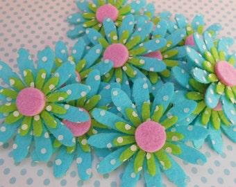 Felt Flowers Decoration Turquoise 12pcs.