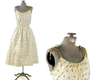 Vintage 1950's Cream Polished Cotton Botanical Floral Novelty Print Summer Sun Party Dress S SALE