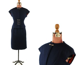Vintage 1960's Geoffrey Beene Navy Blue All 100% Wool Knit  Preppy British Mod Two Piece Dress Set S