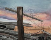 Tangled Sunset barbed wire fence Western Gothic western US - 11 x 14 print