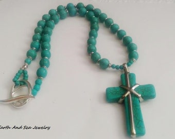 Turquoise Silver Copper Statement Cross Howlite