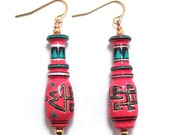 Tribal Red and Black Painted Wood Earrings