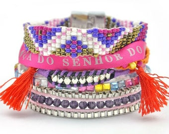 Summer Beach Bracelet, Pink Tones