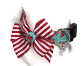 Peppermint Hearts Holiday Collar size Medium