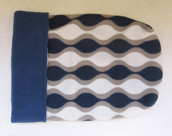 Pet Burrow Bag, Sleeping Bag, Snuggle Sack, Navy Blue, Gray, and White Geometric Print with Navy Fleece Lining