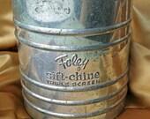 Vintage Foley Sift Chine Triple Screen Flour Sifter, Farmhouse Kitchen Decor Repurpose