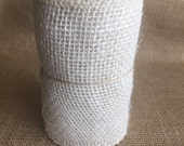 """Off White Burlap Ribbon 5"""" x 15ft Wedding Decor Jute Lace Wreath Shower Mother's Day Spring Summer Easter"""