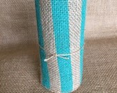 "Aqua Stripe Burlap Ribbon 5.5"" x 10 ft Wedding Decor Jute Wreath Spring Summer"
