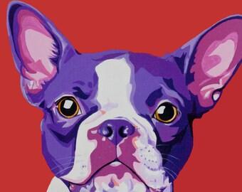 Red Boston Terrier Dog Print