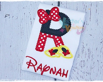 Custom Minnie Initial - Personalized - Minnie Mouse Inspired - Disney Inspired - Disney First Trip - Embroidered Applique Shirt