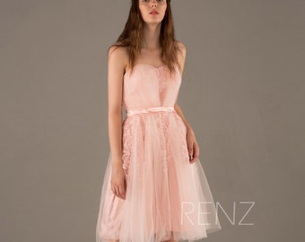 Soft Tulle Bridesmaid Dress Backless, Peach A line Wedding Dress, Short Prom Dress, Puffy Strapless Party Dress Knee Length (FS218)