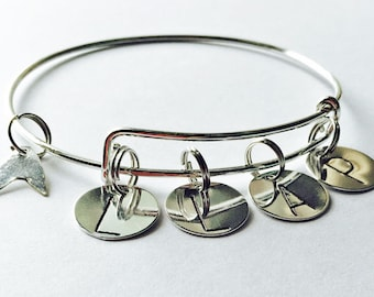 Star Trek Live Long and Prosper Spock Bangle Charm Bracelet Silver Plated Adjusts New Handmade Made in USA