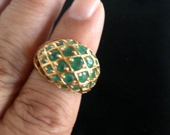 Vintage 14K vermeil emerald dome ring, size 7