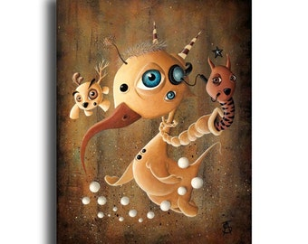 "Original pop surreal acrylic painting on canvas by Olivier Castillon ""Animal Pod"""