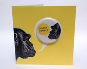 Cheeky Monkey Large Badge Yellow Blank Eco Friendly Art Square Greeting Card
