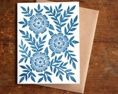 Single Hand Block Printed Card