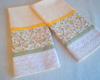 Yellow Gingham Set of Towels Trimmed with Retro Flower Print Fabric and Wide Lace