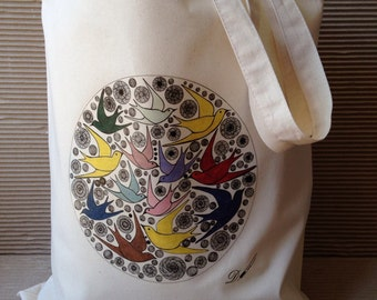 Tote bag - cotton tote bag - printed tote bag- produced from an original hand drawing.