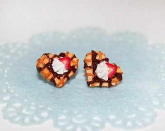 Heart Waffle Stud Earrings - Cookie Earrings - Food Earrings