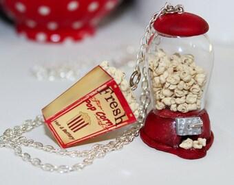 Popcorn Necklace - Popcorn Machine Necklace -  Bottle  Necklace - Glass ball Necklace -Miniature Food Jewelry - Food Necklace