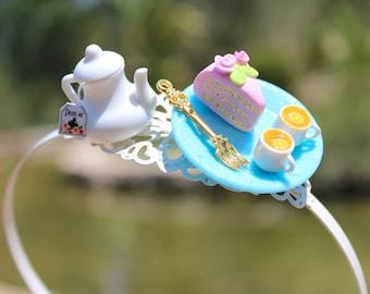 Tea Party Headband -- Sweet Lolita accessories - Kawaii Headband - Eat Me Drink Me - Sweet Headband - Miniature Food Accessories