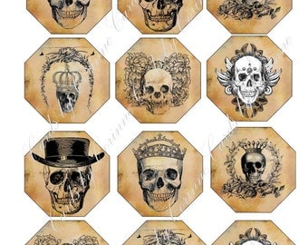 Halloween 12 labels stickers skulls sepia steampunk
