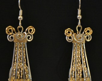 """Egyptian sterling silver and 14K gold filled wire wrapped earrings or jackets  """"Cleopatra"""""""