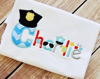 Appliqued Letter with Police Hat - Your child's name spelled out using Police letters