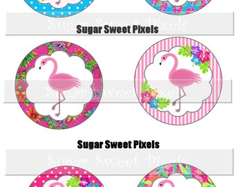 INSTANT DOWNLOAD Pink Flamingo Luau Digiital 1. 5 inch Circle  Party Favor Image  Labels  Cupcake topper 4 x 6 size sheet