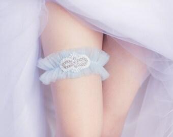Something Blue Wedding Garter, Blue tulle Garter, Beads and Pearls, Blue Garter, Garter Set, Gift for Bride, Bridal Shower Gift, Lingerie
