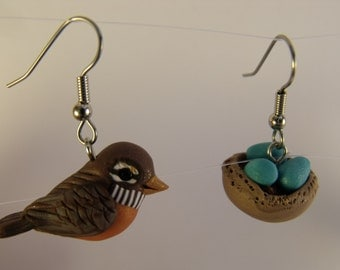 Handmade Polymer Clay Robin and nest with 3 eggs  Earrings