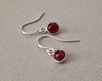 Tiny Garnet Earrings in Sterling Silvers -January Birthstone Earrings -Red Gemstone Earrings